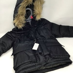 Baby Gap Faux Fur Winter Coat Black 18-24 months